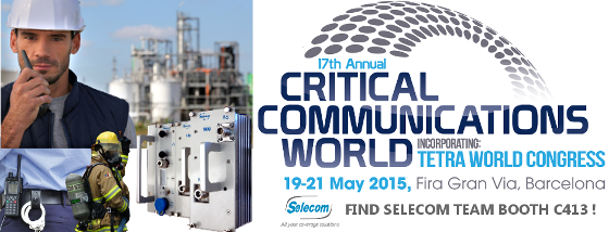 Bandeau SELECOM at Critical Communication World 2015 (CCW 2015 - Barcelona - Spain)